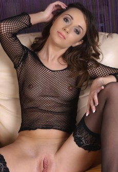 fishnet stocking and mesh shirt girl