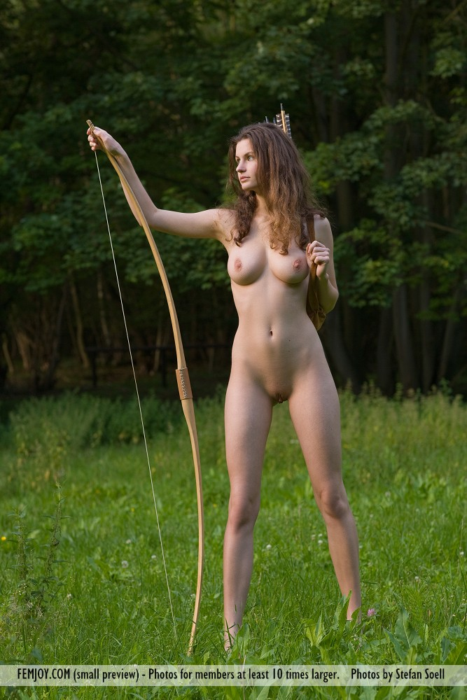 naked woman with a bow