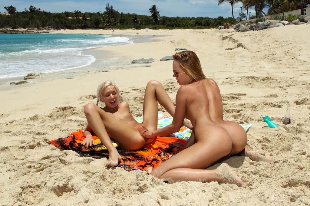 on porn Hot beach lesbian the
