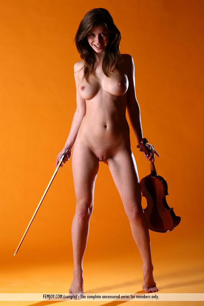 Naked girl with violin